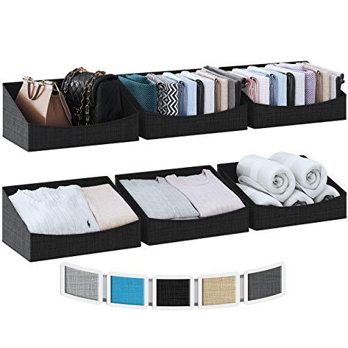 NEATERIZE Regalkorb [6er Set] - Schrank Organizer Aufbewahrungsboxen - Flache Aufbewahrungsbox Stoff für Kleidung, Handtücher & Schuhe - Aufbewahrungskorb Ordnungssystem - Körbe für Regal [Schwarz]