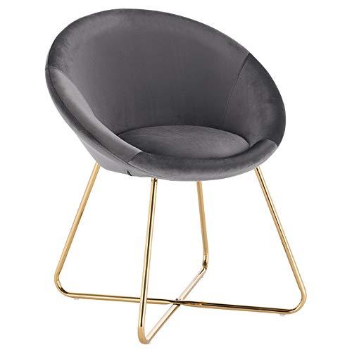 WOLTU® Esszimmerstühle BH217dgr-1 1x Küchenstuhl Polsterstuhl Wohnzimmerstuhl Sessel, Sitzfläche aus Samt, Goldene Metallbeine, Dunklegrau