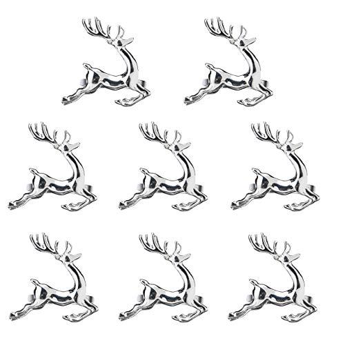 EUYuan 8 x Serviettenringe in Silber, für Weihnachten, Abendessen, Partys, Alltag, Zuhause, Tischdekoration (Rentier)