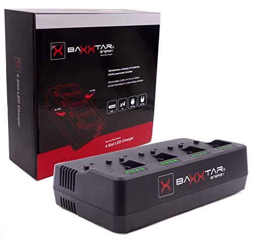 Baxxtar PRO caricatore a 4 canali (2A per scomparto) - compatibile con le batterie della serie Sony NP-F: NP-F550 NP-F750 NP-F750 NP-F970 NP-F970 NP-F990 NP-FM500H ecc.