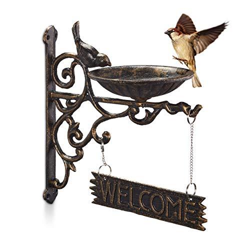 Relaxdays Vogeltränke Gusseisen, Welcome Schild, Gartendeko, Wandmontage, Vintage, Wasserschale für Wildvögel, Bronze
