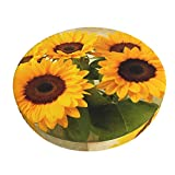 Ouqiuwa Vintage Retro Sunflowers Lovely Bar Stool Covers Round, Washable Chair Seat Slipcover 12 Inch