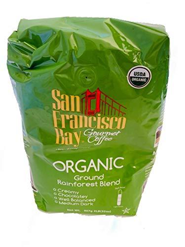 San Francisco Bay USDA Organic Rainforest Blend Medium Dark Coffee 2 Lb Bag