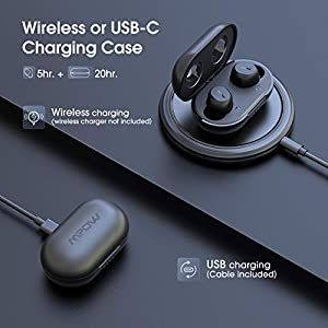 Wireless Earbuds, Mpow M12 Bluetooth Earbuds, Wireless Charging & USB-C Charging Case Bluetooth Earphones Headphones w/Dual Mic, Bass Sound/IPX8 Waterproof/Touch Control/25 Hrs/Dual Modes