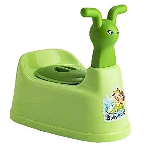 Vadmans Toilet Trainer Baby Potty Seat Cartoon Face with Removable Tray & Closing Lid (Green)