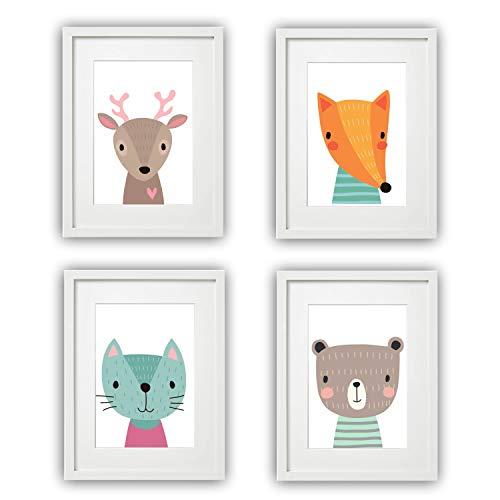 Kinderzimmer Bilder Babyzimmer Poster DIN A4 | Mädchen Junge | Baby Tiere Wald | farbig | Babyzimmer Deko… (4er #4)