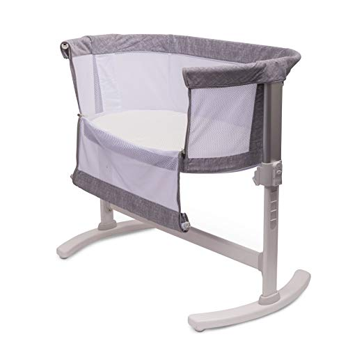 PurFlo Baby Newborn KEEP ME CLOSE Breathable Bedside Sleeping Crib in Marl Grey
