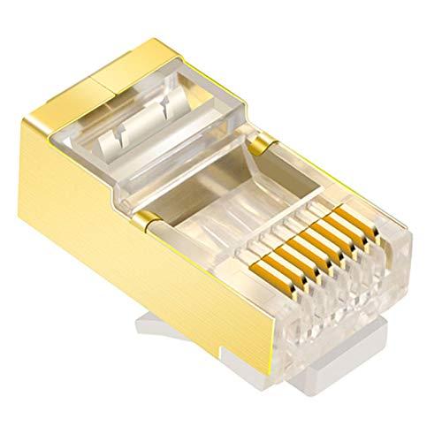 tellaLuna Conector RJ45 de 50 Piezas Adecuado para Cable de MúLtiples NúCleos CAT6, Extremo RJ45 Blindado en Oro, Enchufe de Rojo 8P8C FTP STP