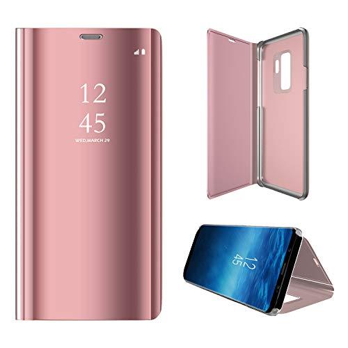 Hexcbay Funda Samsung Galaxy S9, Samsung Galaxy S9 Plus, Elegant Mirror Flip Funda Protectora Ultra Delgada Resistente a Prueba de Golpes Funda para Galaxy S9/S9 Plus (Samsung S9, Rosa roja)