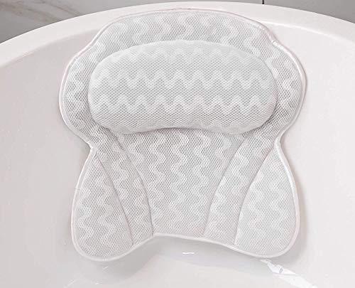 Cuscino Vasca da Bagno Poggiatesta per Vasca da Bagno Cuscino con Ventose Antiscivolo Home Spa 3D Impermeabile Bath Pillow per Il Collo Testa e Spalle