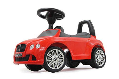 Jamara 460224 - Rutscher Bentley Continental GT Speed rot – Kippschutz, Kofferraum, Schub- und Haltegriff, echte Scheinwerferattrappen, Hupe und Sounds, offiziell lizenziert, wertige Verarbeitung
