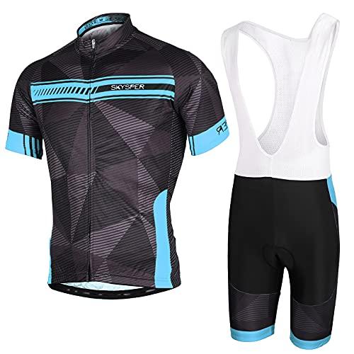 SKYSPER Conjunto de ciclismo para hombre, ropa de ciclismo de verano, camiseta de manga corta + peto con cojín 3D de gel, transpirable y secado rápido para bicicleta de montaña, de carretera, etc.