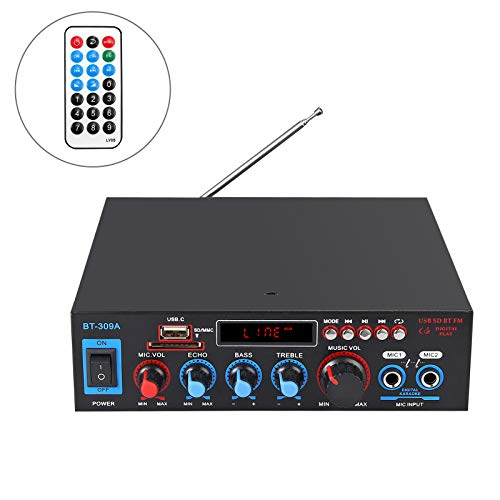 Amplificador de Audio Estéreo Bluetooth 800W Amplificador de Audio HiFi Digital Función Radio FM Tarjeta TF SD Dos Microfonos para Automoviles Hogar