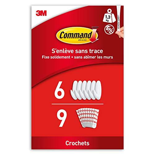 Command Crochets Design Moyen, Modèle Blanc - Lot de 6 Crochets et 9 Languettes Moyennes - Pour Accrocher et Décorer Sans Abîmer