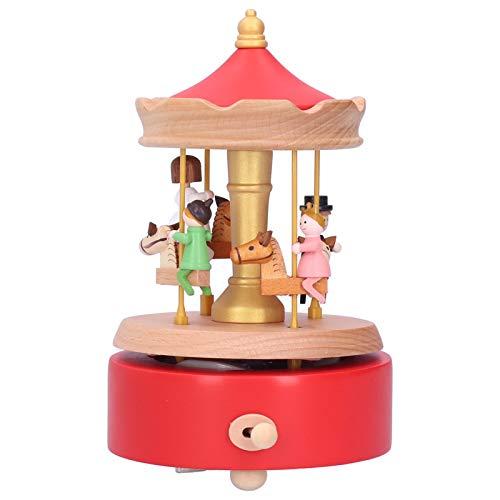 Caixa de música, carrossel de cavalos giratórios musicais de madeira fofa, caixas de música ecologicamente corretas Merry Go Round para crianças presente de aniversário para meninas