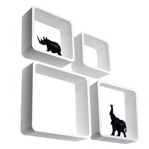 WATSONS Cube - Cube étagère Murale de Rangement - Lot de 4 - Blanc