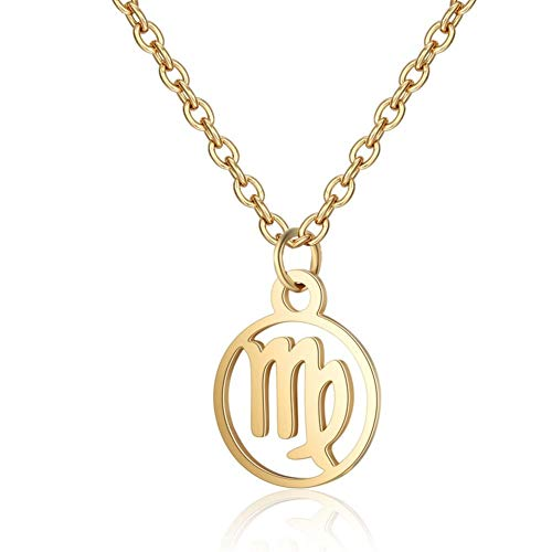 DERFX Stainless Steel 12 Constellation Pendant Necklace Round Coin Hollow Zodiac Sign Statement Clavicle Chain Necklace Unisex Jewelry (Main Stone Color : Gold Color, Metal Color : Virgo 1)