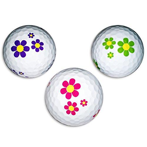 Vision-Goker 6 Golfbälle Bunt Daisy - Design Distance Lady Soft Lustig ideales Golf Geschenk für Frauen (lila-grün-pink)
