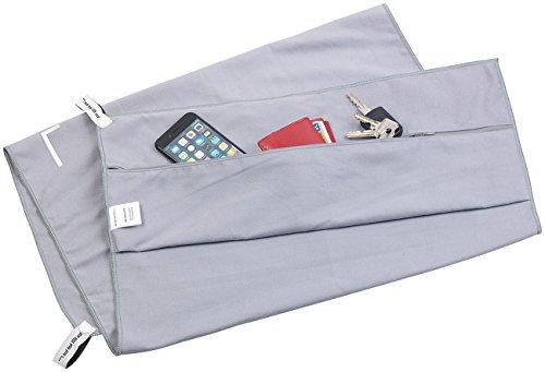 PEARL Fitness Handtuch: Mikrofaser-Sport-Handtuch mit Lehnen-Überzug und Tasche, 50 x 100 cm (Sporthandtuch Microfaser)