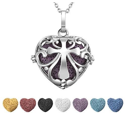 JOVIVI Lava Stone Diffuser Necklace Silver Plated Love Heart Aromatherapy Essential Oil Locket Pendant with 7 Colors Lava Stone