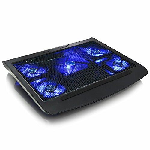 AABCOOLING NC45 - Laptop Lüfter mit 5 Lüftern und Blau LED, Notebook Ständer Unterlage, Halterung, Laptop Pad für Notebooks und PS4 / Xbox Consolen, Notebook Halter, Kühler, Schoßtablett