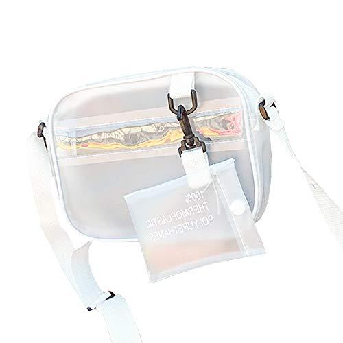 Enkrio Mini Clear Crossbody Messenger Schultertasche mit Reißverschluss Tote Bag PVC Transparent Geldbörse Verstellbarer Gurt Handtasche Clutch matt für Damen Herren Studenten
