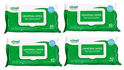 Clinell Universal Sanitising Wipes 40 (4 Pack of 40 wipes) by