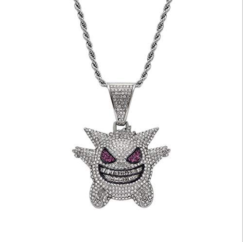 AOJIE Collar de Cadena de Gengar, joyería de Pokemon Elfo de Hip Hop, Unisex Exquisito Colgante de Burbuja Gengar Plata