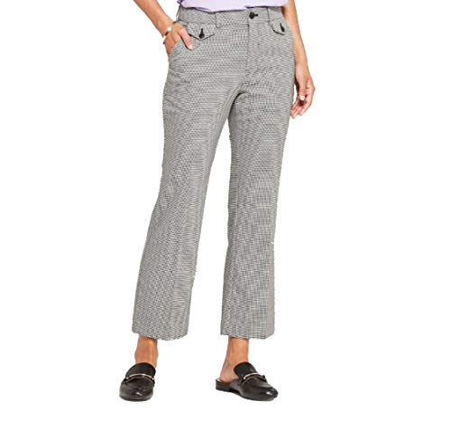 A New Day Women's Plaid Kick Flare Pants (Black/White, 8)