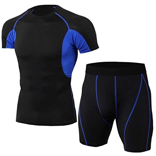 コンプレッションウェア スポーツウェア トレーニングウェア インナー タイツ 上下セットメンズ 短袖 通気 速乾 加圧 吸汗 ルームウェア (ブラック ブルー,Xl)