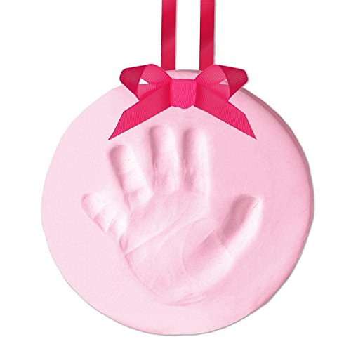 Pearhead Easy-to-Create Babyprints Baby Handprint or Footprint Keepsake Ornament Kit with Ribbon, Pink