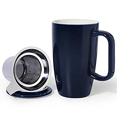 Sunddo Ceramic Tea Cup with Infuser and Lid, Tea Infuser Cup for Loose Tea, 15 OZ Navy Blue Tea Mug For Steeping