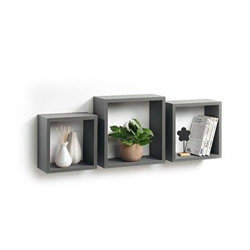 Modul'Home 6RAN789BC - Set da 3 Mensole a cubo, in MDF, 11,8 x 30 x 30 cm, pannello MDF, Grigio/Antracite, 3 taglie 23 cm/26,5 cm/30 cm