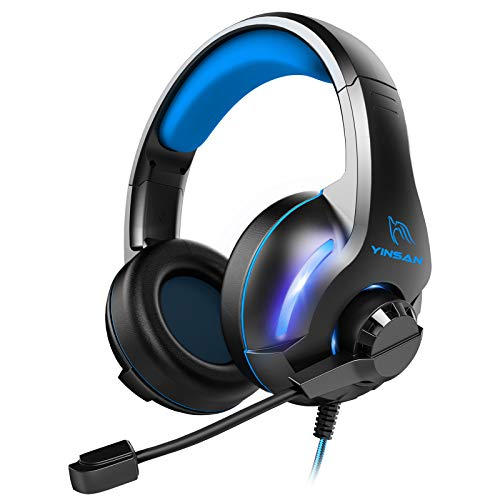 YINSAN TM7, Micro Casque PS4 Gaming, Casque Gamer avec Micro Anti Bruit Réglable LED Lampe Stéréo Basse Contrôle du Volume, Casque Gaming pour Switch, Xbox One, PS4, PC, Laptop, Tablette (Bleu)