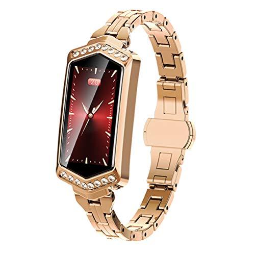HJKPM Women's Smartwatch, Reloj Inteligente Impermeable con Ritmo Cardíaco Ciclo Menstrual Presión Arterial con La Función De Supervisión del Sueño para Prevenir La Infección del Virus,Oro