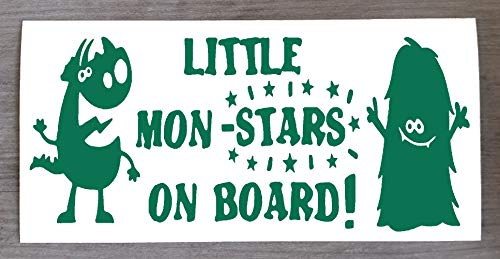 Sticker Monster on Board Little Mon - Star on Board - Sticker amusant Baby on Board - 9 cm x 20 cm - HSS012, Vinyle, Vert, Two Mon-Stars