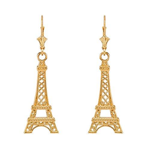 10k Yellow Gold Paris Eiffel Tower Leverback Earrings