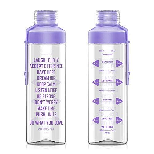 Artoid Mode Sport-Wasserflasche mit Zeitmarkierung und Messungen, motivierend, spülmaschinenfest und BPA-frei, violett