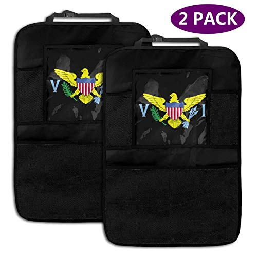 Bolsa de almacenamiento del organizador del asiento trasero 2 Pack Durable Car Backseat Organizer United States Virgin Islands Flag Logo Muti-Pocket Back Seat Storage Bag with Touch Screen Tablet Hol