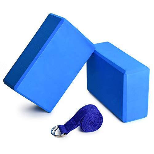 Lixada Yoga Blocks 2Pcs with Cotton Yoga Strap Stability Blocks Yoga Strap Set EVA Soft Non-Slip Yoga Blocks for Yoga Pilates Meditation