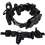 E-HORDE Law Enforcement Utility Tactical Belt Set,10 in 1 Multifunctional Tactical Security Military Police Gear Heavy Duty Belt Kit Nylon Combat Officer Equipment with Pouches Holster Gear,Black