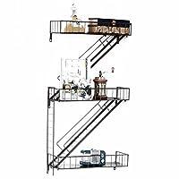 ヴィンテージ錬鉄製の壁の棚|アメリカの棚|階段形状の鉄の棚|キッチンリビングルームのベッドルームの壁に取り付けられた収納ラックウォールシェルフ