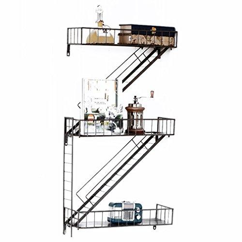 SXXDERTY-étagère debout American Retro Industriel Vent Escalier Fer Étagères Mur Monté Fleur Tablette Salon Chambre à Coucher Cuisine Rangement Plateau (Taille: 100 * 53 * 18 cm)