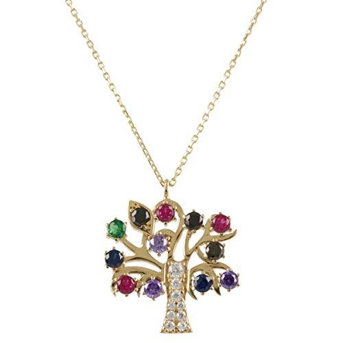 Collar'Árbol de la Vida' en oro con piedras - Gioiello Italiano