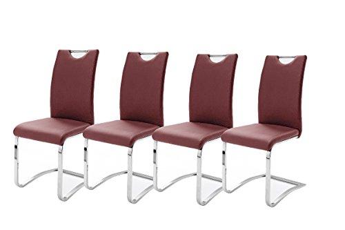 Robas Lund Esszimmerstühle 4er set, Schwingstuhl belastbar bis 120 kg, Stuhl Bordeaux, Komfortsitzhöhe 47 cm
