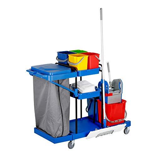 STIER Großer Hygiene- und Reinigungswagen, inkl. STIER Wischmop Set und 5x STIER Moppbezug, Profi Putzwagen, mit Presse, mit 2 Eimern mit 18 l in rot/blau