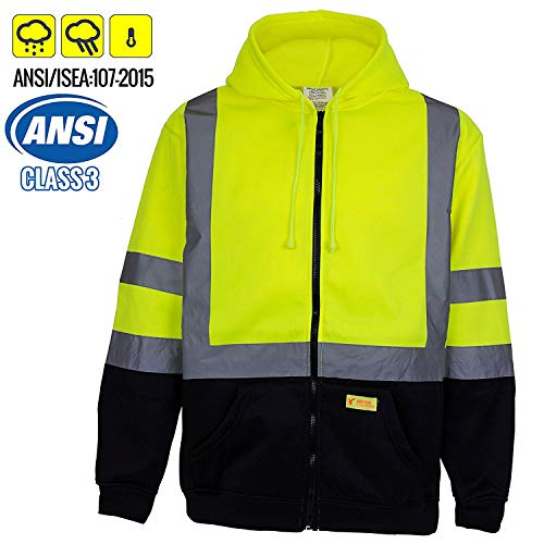 New York Hi-Viz Workwear H9012 Men's ANSI Class 3 High Visibility Class 3 Sweatshirt, Full Zip Hooded, Lightweight, Black Bottom (Large)