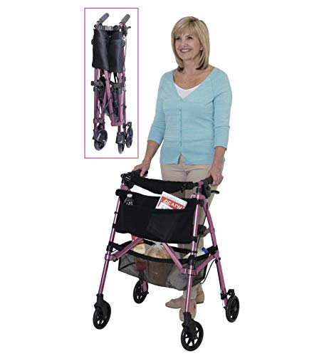 Stander EZ Fold-N-Go Rollator, Lightweight Folding 4 Wheel Rolling Walker for Seniors with Compact Travel Seat and Locking Brakes, Regal Rose