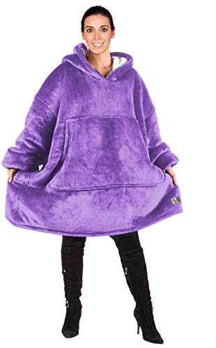 Catalonia Oversized Hoodie Blanket Sweatshirt,Super Soft Warm Comfortable Sherpa Giant Pullover with Large Front Pocket,for Adults Men Women Teenagers Kids,Purple
