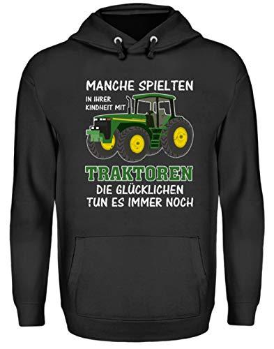 ALBASPIRIT Traktor Landwirt Kindheit Witziger Spruch Landwirtschaft Trecker Bauer Geschenk - Unisex Kapuzenpullover Hoodie -L-Jet Schwarz